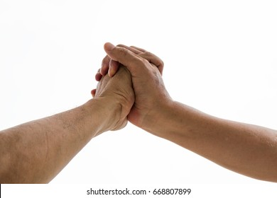 Hold one's hand for promise on white background