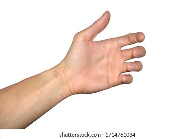 Hold something Man hand sign isolated on white background