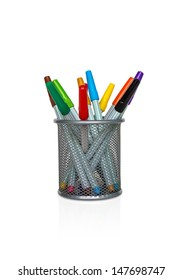 holder basket full of markers isolated on white background