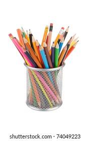 holder basket full of pencils isolated on white background