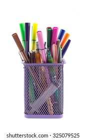 holder basket and pen with pencil isolated on white background