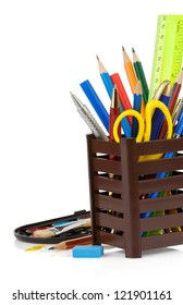 holder basket and school supplies isolated on white background