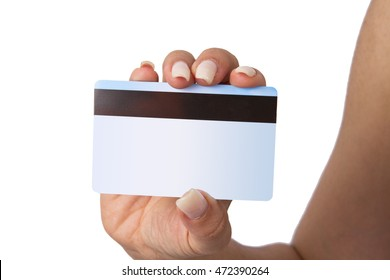 Holding Bank Card or ATM Card or credit card or debit card in white isolated background.
