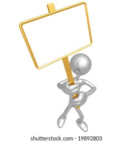 Holding Blank Picket Sign