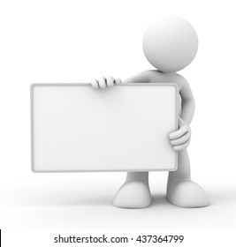 holding blank placard 3d illustration