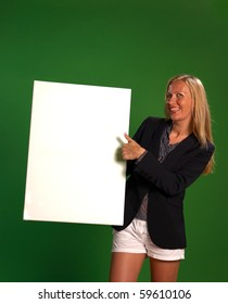 Holding a board with copy space