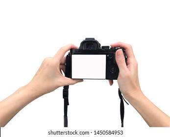 Holding camera with isolated background