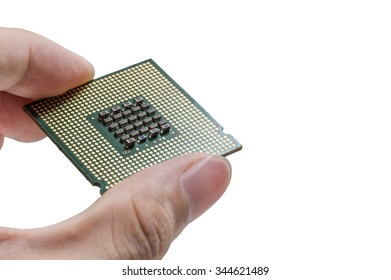 Holding a CPU backside isolated on white background