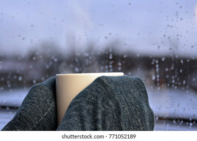 holding a cup of tea on a rainy day