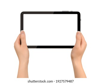 holding digital tablet in hands on isolated white background
