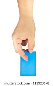 holding an empty blue card  isolated on white