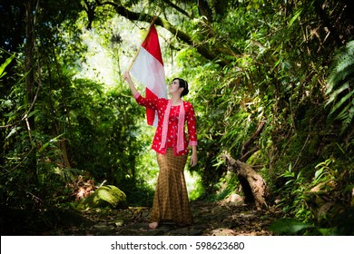 Holding a Flag in the wood