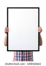 Holding frame mockup. Photo Mockup. The man hold frame. For frames and posters design. Frame size 20x28 (50x70cm).