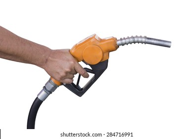 Holding a fuel nozzle against white background