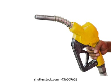 Holding a fuel nozzle against white background.