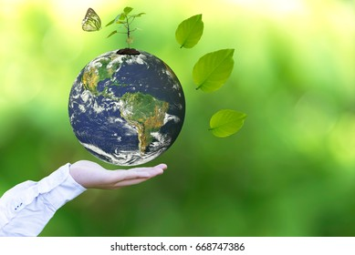 Holding a glowing earth globe in his hands with butterfly.   World Environment and Save Environment biodiversity . Earth image provided by Nasa.