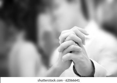 Holding hand groom and bride enjoying dancing