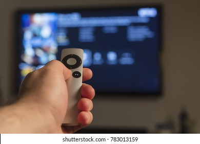 Holding hand on remote control