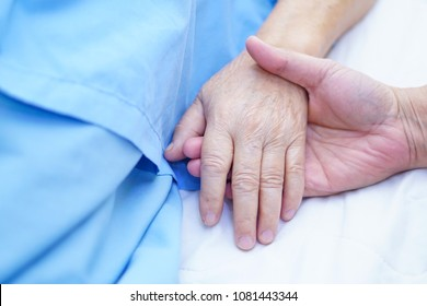 Holding hands Asian senior or elderly old lady woman patient with love, care, encourage and empathy at nursing hospital ward : healthy strong medical concept