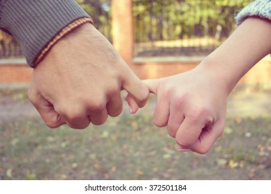 Holding hands.Lovers couple holding hands in a forest (summer/spring).Hand in hand
