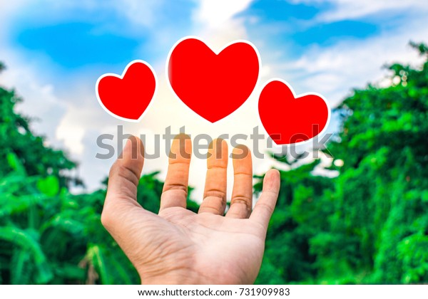 holding heart vector on tree blurry background.using wallpaper or background for education, business photo. Take note of the product. this lover or caring and take care image and concept or copy space