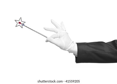 Holding a magic wand isolated on white background