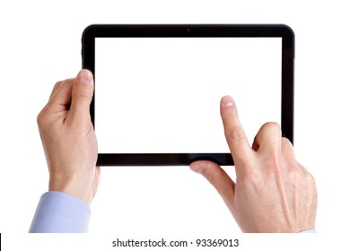 Holding and pointing to blank screen on digital tablet with copy space isolated on white