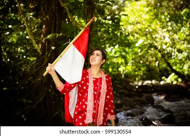 Holding Red-white Flag in River (Half Body)