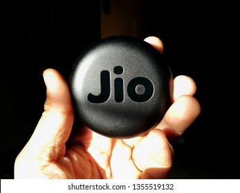 Holding Reliance Jio JioFi - the mobile hotspot - WiFi Hotspot [Chennai, TN, India - March 12, 2019]