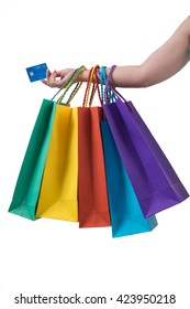 Holding shopping bags credit card isolate