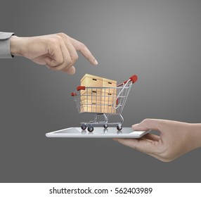 holding shopping cart on tablet.