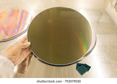 holding a silicon wafers on table for inspection dummy,reflecting different colors or colorful glowing light.Semiconductor hi-tech industry
