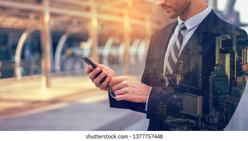 Holding smart phone shopping , pay Online banking payment communication network digital technology internet wireless application development mobile smartphone apps computing,business concept with icon