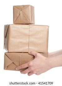 Holding a stack of parcels (Isolated)