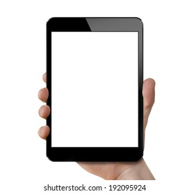 Holding tablet - isolated on white, Ipade style