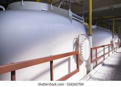 holding tanks in a drinking water purification plant