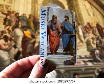 Holding the ticket from Vatican Museum, Vatican City,Rome, Italy 1/March/2018
