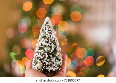 Holding a tiny snow covered Christmas tree with bokeh background and space for copy