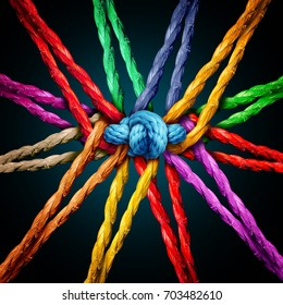Holding together group as different ropes connected and tied and linked together in the center by a knot as a strong unbreakable chain and community trust and faith metaphor.