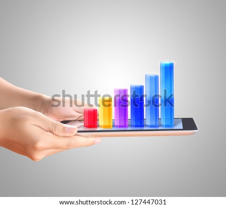 Holding Touch Screen Tablet Graph Stock Photo Edit Now