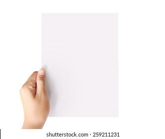 holding white a blank A4 paper