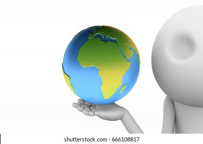 Holding The World 3D Wooden Character.