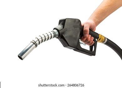 and holds a black Fuel pump nozzle isolated on white background