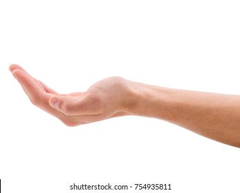 Holds a hand palm up against a white isolated background
