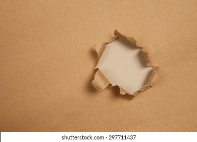 hole of  brown paper