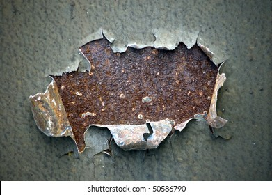 hole chipped paint rusty textured metal background