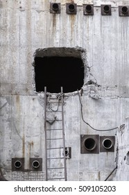 Hole in concrete cooling tower number five