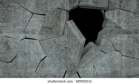 Hole from the explosions in the concrete wall, 3 d render