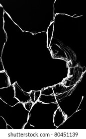 Hole  glass  broken  black