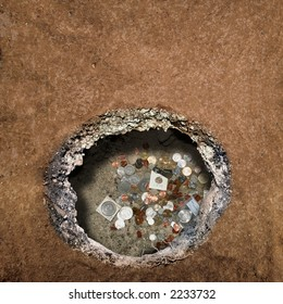 Hole in the ground - Coins.